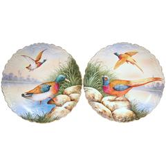 Pair of 19th Century French Hand-Painted Porcelain Birds Plates from Limoges