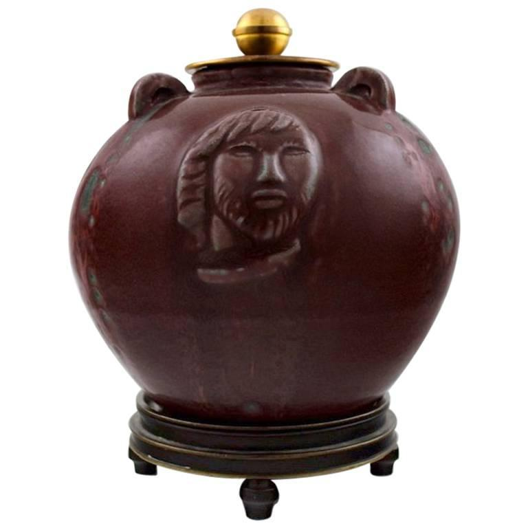 Unique Jais Nielsen, Knud Andersen, a Small Circular Stoneware Jar with Lid