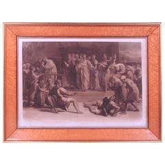 Death of Ananias after Raphael in a Period Parcel-Gilt Birdseye Maple Frame