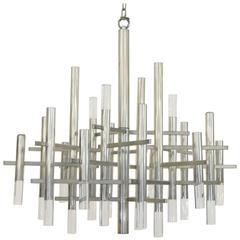 Chrome and Lucite Modernist Sciolari Chandelier
