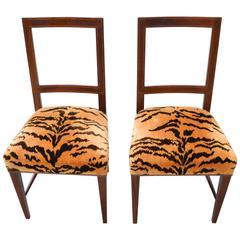 biedermeier slipper chairs in tiger silk velvet - Slipper Chairs