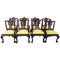 Set of Eight 20th Century English Chinese Chippendale Mahogany Dining Chairs
