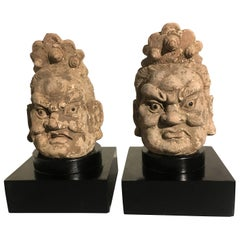 Pair Chinese Stucco Dvarapala Guardian Heads, Yuan to Ming Dynasty, 14th Century