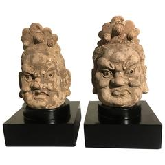 Pair of Chinese Ming Dynasty Stucco Guardian Heads