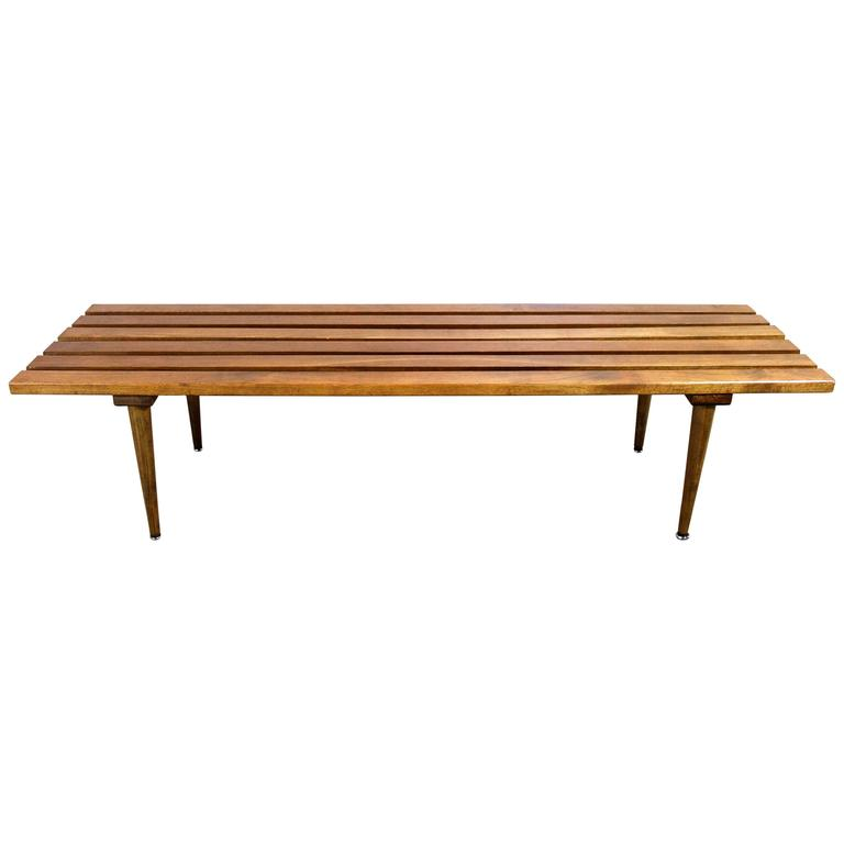 Mid Century Solid Wood Small Platform Slat Bench Or Coffee: Expanding Danish Mid Century Modern Slat Bench Or Coffee