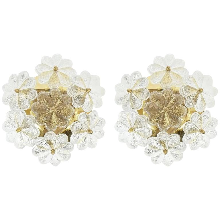 Palme Brass and Glass Flower Sconces, 3 pairs 1