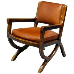 Arts & Crafts Oak & Leather Armchair in Style of E W Pugin with Organic Styling