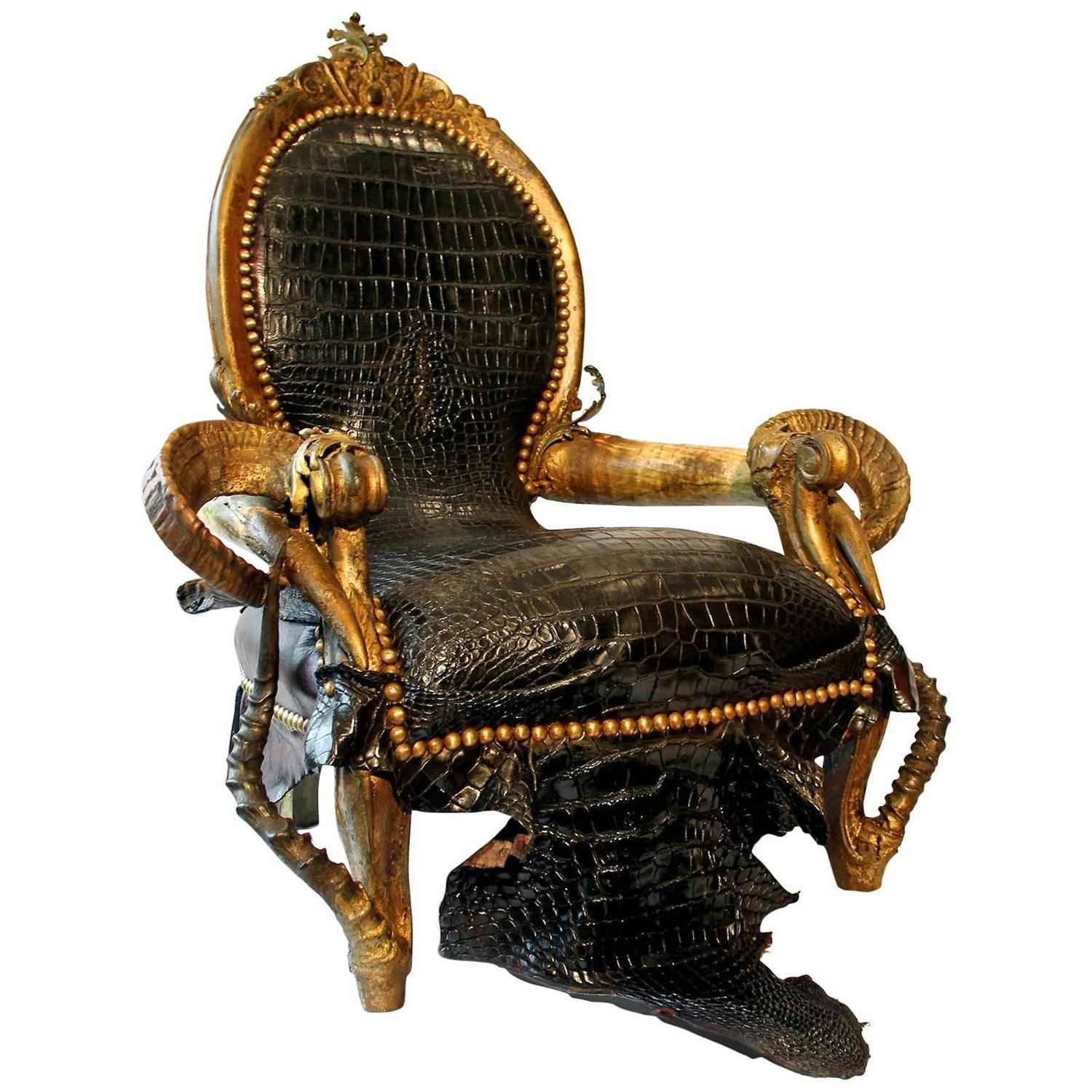 Black Crocodile Armchair with Alligator Skin and Zebu Horns For