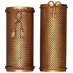 Two Midcentury Italian Gilt Woven Metal Umbrella Stands, 1950s, Hans Kögl Style