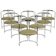 Set of Eight Nickel-Plated Dining Chairs, 1960s