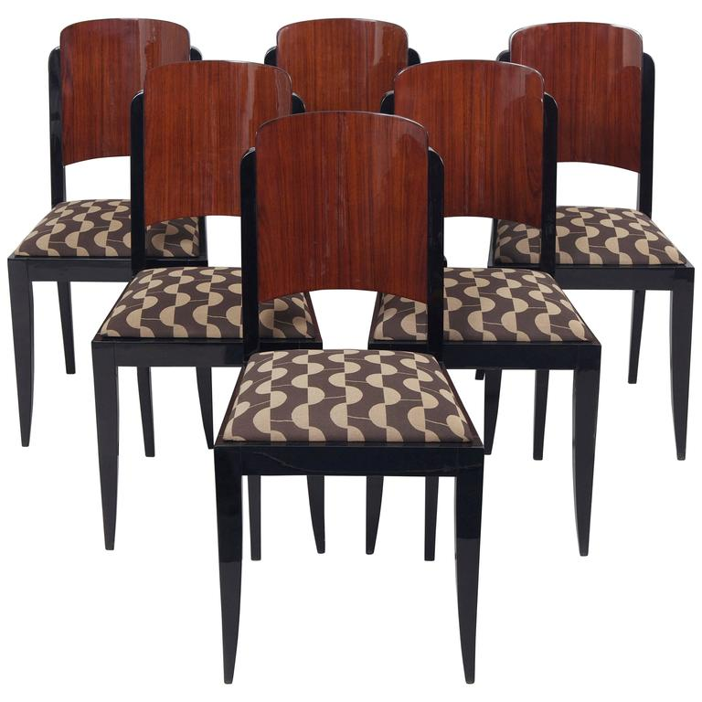 Set Of French Art Deco Chairs Made By Architect Jules Leleu For Sale