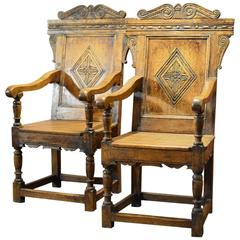 Antique Pair of Hall Chairs, 19th Century, Baronial