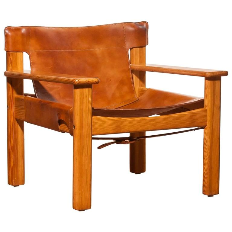 1970s, Beautiful U0027Naturau0027 Saddle Leather And Pine Chair By Karin Mobring 1