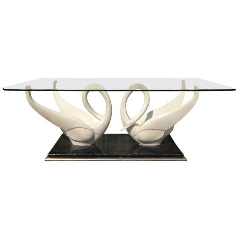 Rare Coffee Table by Maison Jansen with White Composite Swans with Glass Top