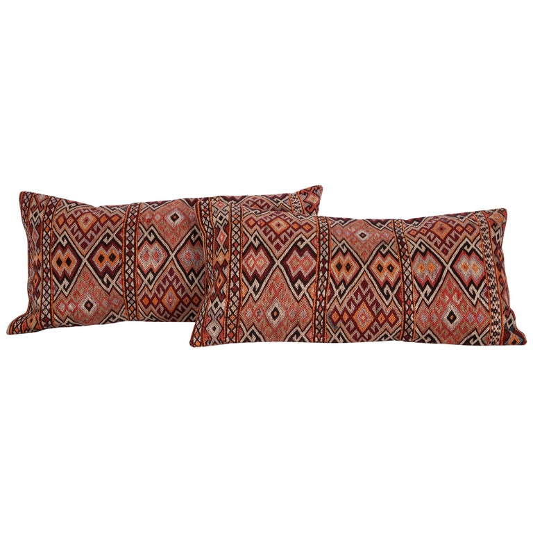 Old Anatolian Sumak Pillow Cases, Early 20th Century For Sale