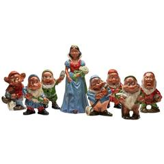 Vintage Continental Pottery Snow White & Seven Dwarfs C1938