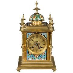 French Gilt Brass and Champleve Mantel Clock