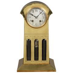 Art Nouveau Brass Mantel Clock