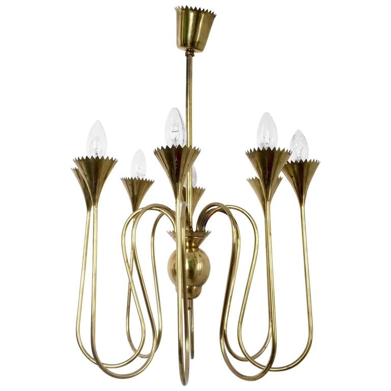 Wonderful and Elegant Chandelier Highly Ascribable to Ulrich, Italy, 1940s For Sale