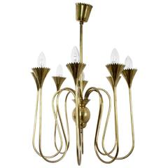 Wonderful and Elegant Chandelier Highly Ascribable to Ulrich, Italy, 1940s