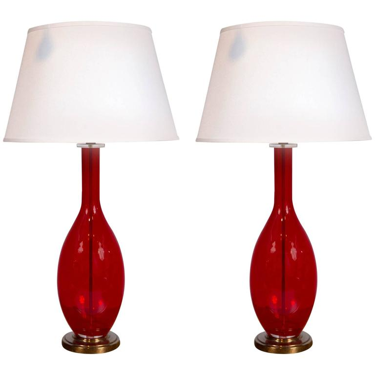 Mid century red glass table lamps for sale at 1stdibs mid century red glass table lamps for sale aloadofball Images