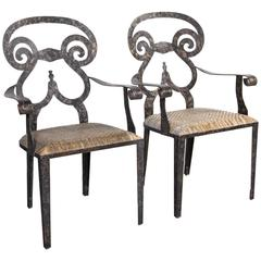 Pair Hand Forged Iron Chairs