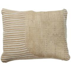 African Embroidery Pillow, Ivory and Oatmeal Color