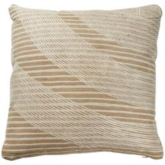 African Embroidery Pillow in Ivory and Oatmeal Color