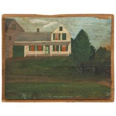 Antique Folk Painting, House by the Side of the Road