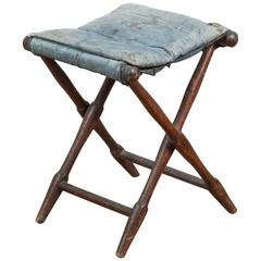 Vintage Folding Stool with Distressed and Faded Denim