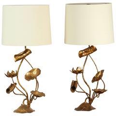 Pair of Italian Gilt Lotus Lamps