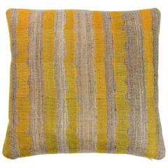 Indian Handwoven Pillow in Yellow and Oatmeal Color