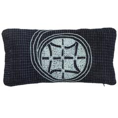 African Embroidery Lumbar Pillow in Indigo Blue, Double-Sided