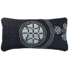 African Embroidery Lumbar Pillow, Indigo Blue, Double Sided