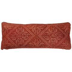 Moroccan Fez Embroidery Pillow.  Red.