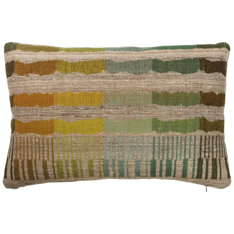 Indian Handwoven Lumbar Pillow In Orange Yellow Green Blue Brown And Beige