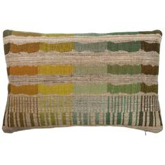 Indian Handwoven Lumbar Pillow in Orange, Yellow, Green, Blue, Brown and Beige