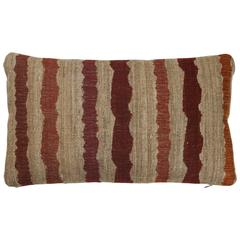 Indian Handwoven Pillow in Orange, Oatmeal and Burgundy
