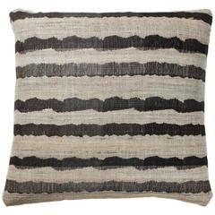 Indian Handwoven Pillow, Black and Natural Beige