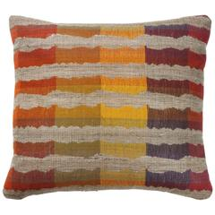Indian Handwoven Pillow in Yellow, Red, Blue, Natural Beige and Green