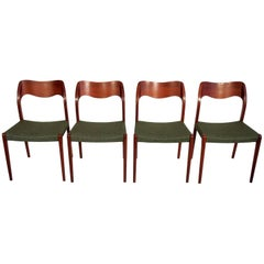 Set of Four Niels O. Moller Solid Teak Chairs, Model 71