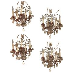 Set of Four Crystal and Bronze Five Light Wall Sconces Manner of Maison Bagues