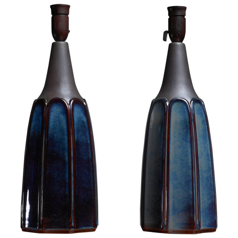 Pair of Ceramic Lamps for Soholm, Denmark, 1960s