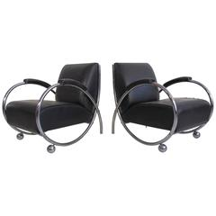 Pair of Chrome and Black Leather Bauhaus Lounge Chairs, circa 1950s