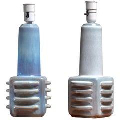 Pair of Light Blue Ceramic Table Lamps by Soholm, Denmark, 1960s