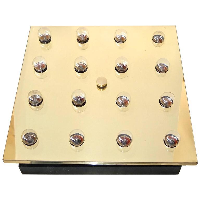 Square Brass Lightolier Flush Mount Ceiling Light 1