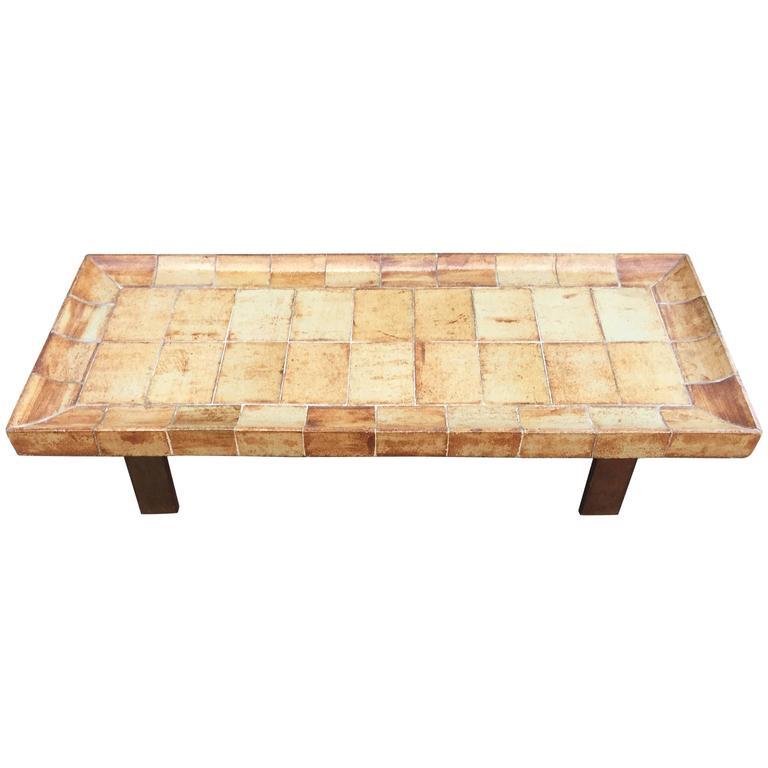"Roger Capron, Ceramic Coffee Table, Model ""Cuvette"" Vallauris, 1970"