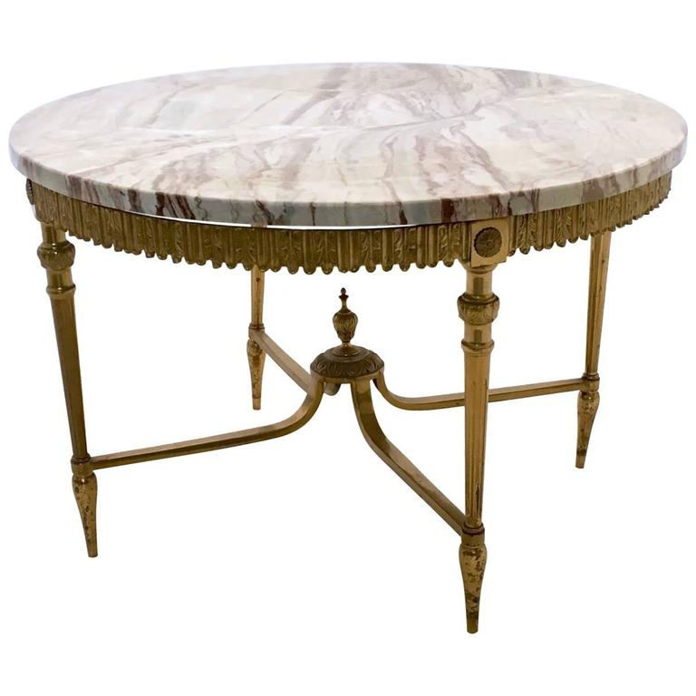 Elegant Marble And Brass Coffee Table, Italy, 1950s For