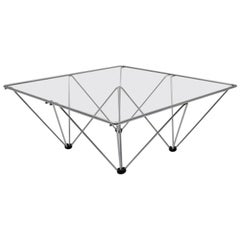 Chromed Square Vintage Coffee Table in the Style of Paolo Piva circa 1980, Italy