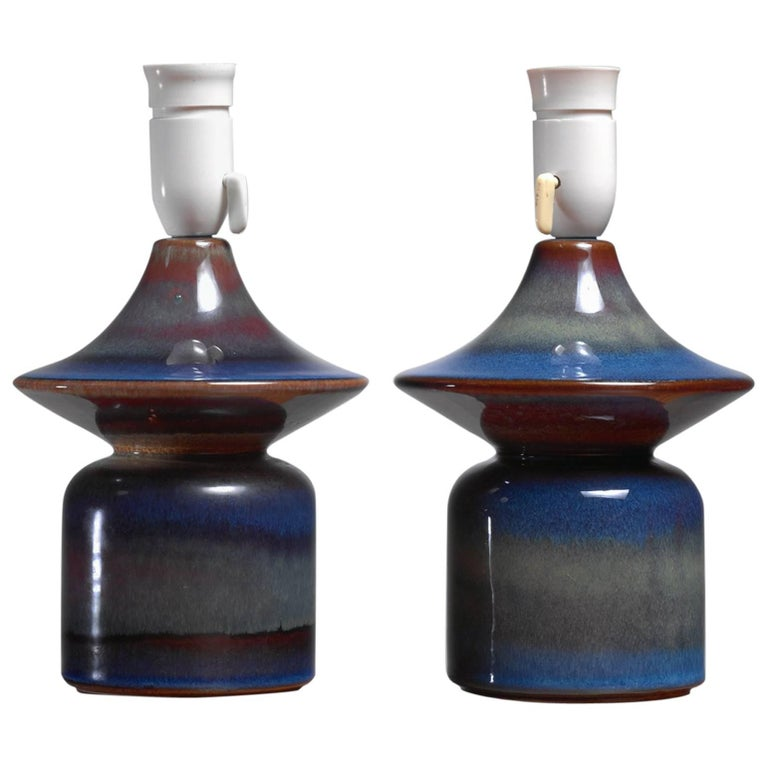 Pair of Blue Ceramic Table Lamps by Soholm, Denmark, 1960s